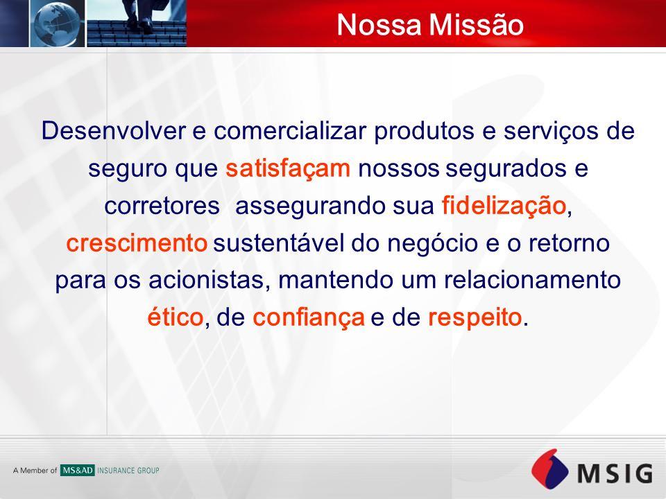 Nossa Missão Desenvolver e comercializar produtos e serviços de seguro que satisfaçam nossos segurados e corretores assegurando sua fidelização, cresc