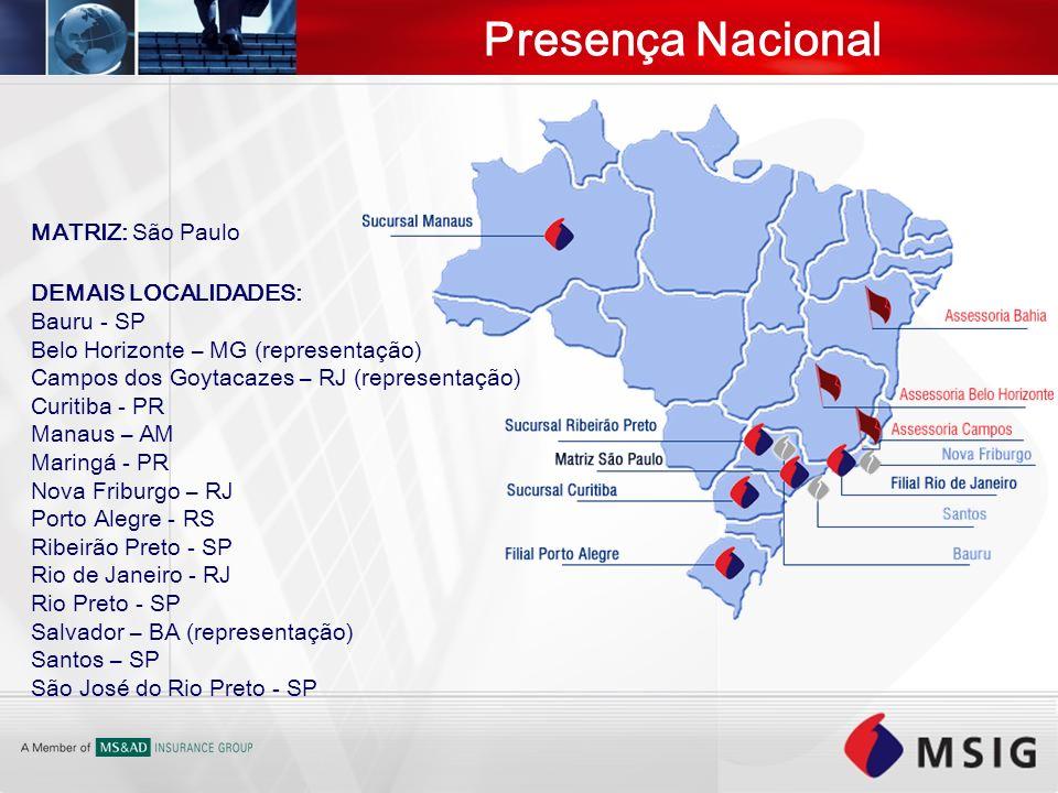 Presença Nacional MATRIZ: São Paulo DEMAIS LOCALIDADES: Bauru - SP Belo Horizonte – MG (representação) Campos dos Goytacazes – RJ (representação) Curi