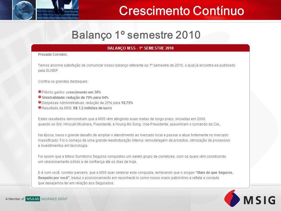 Crescimento Contínuo Balanço 1º semestre 2010
