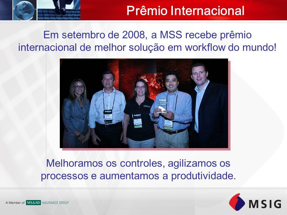 Prêmio Internacional Em setembro de 2008, a MSS recebe prêmio internacional de melhor solução em workflow do mundo! Melhoramos os controles, agilizamo