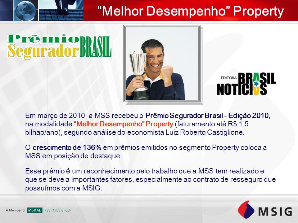 Melhor Desempenho Property Em março de 2010, a MSS recebeu o Prêmio Segurador Brasil - Edição 2010, na modalidade Melhor Desempenho Property (faturame
