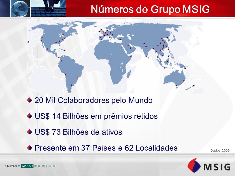 20 Mil Colaboradores pelo Mundo US$ 14 Bilhões em prêmios retidos US$ 73 Bilhões de ativos Presente em 37 Países e 62 Localidades Números do Grupo MSI