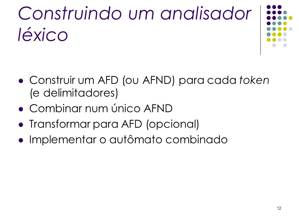 Construindo um analisador léxico Construir um AFD (ou AFND) para cada token (e delimitadores) Combinar num único AFND Transformar para AFD (opcional)