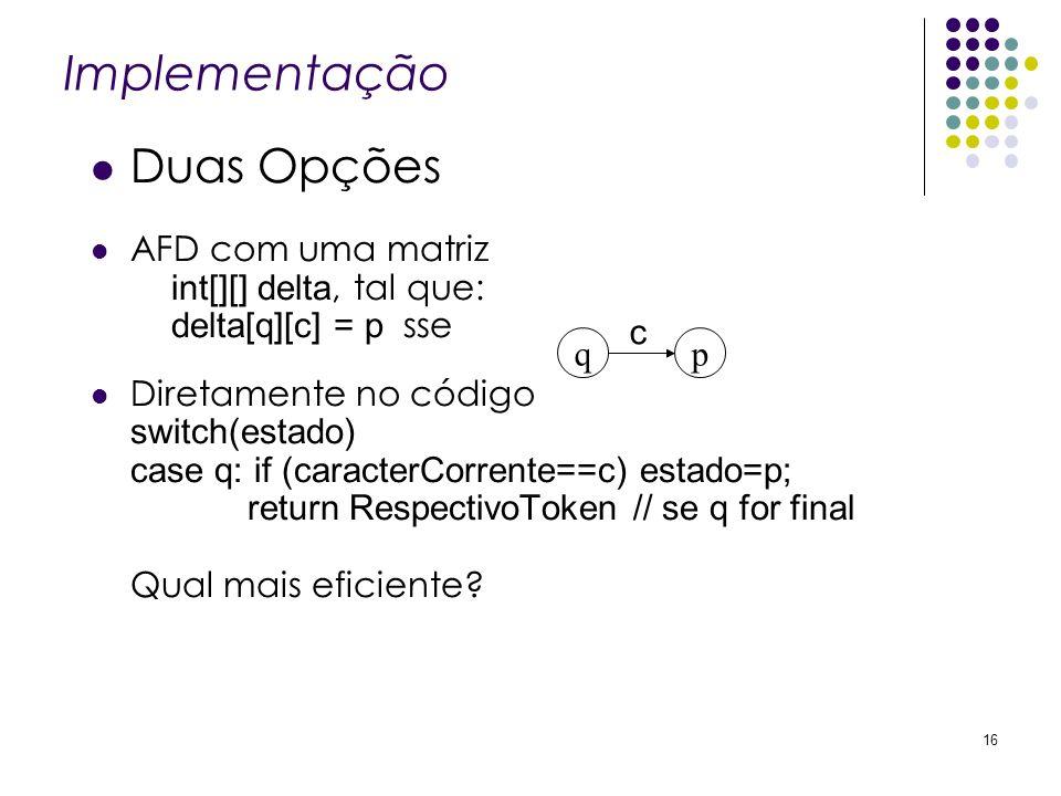 Implementação Duas Opções AFD com uma matriz int[][] delta, tal que: delta[q][c] = p sse Diretamente no código switch(estado) case q: if (caracterCorr
