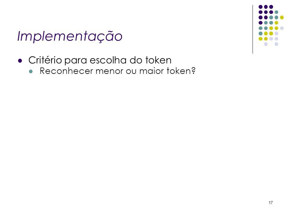 Implementação Critério para escolha do token Reconhecer menor ou maior token? 17