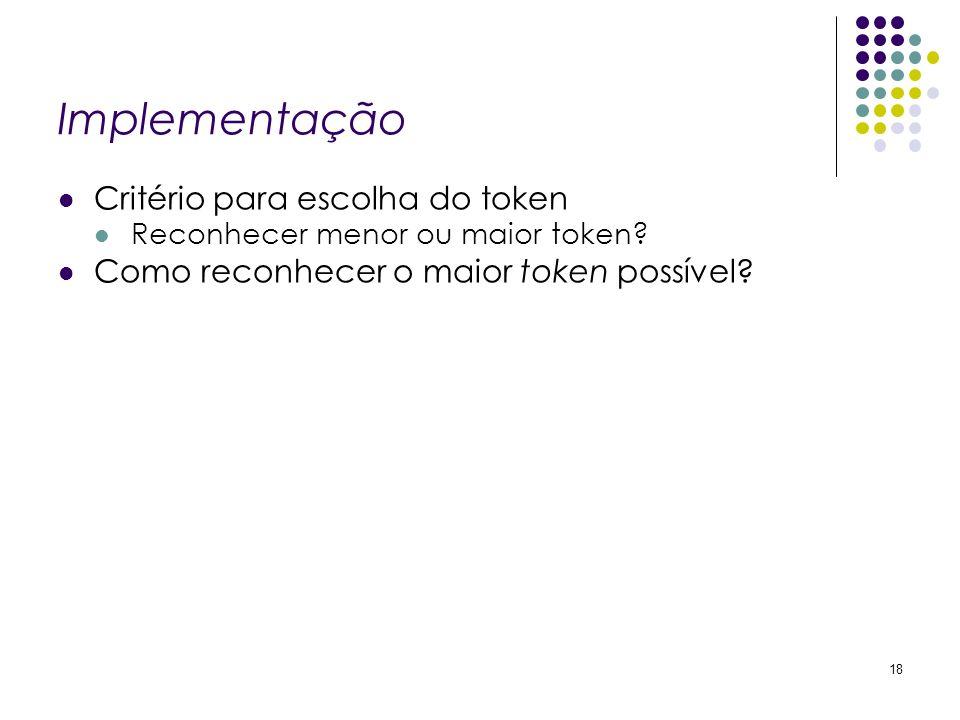 Implementação Critério para escolha do token Reconhecer menor ou maior token? Como reconhecer o maior token possível? 18