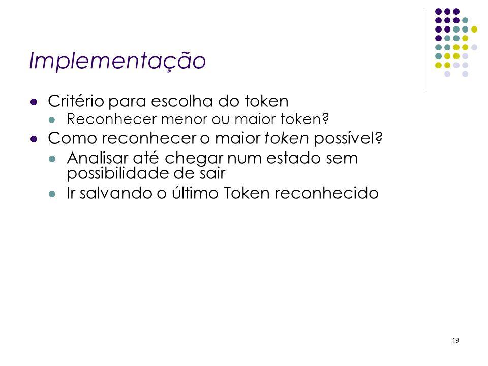 Implementação Critério para escolha do token Reconhecer menor ou maior token? Como reconhecer o maior token possível? Analisar até chegar num estado s