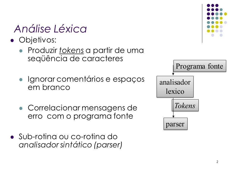 Análise Léxica Objetivos: Produzir tokens a partir de uma seqüência de caracteres Ignorar comentários e espaços em branco Correlacionar mensagens de e