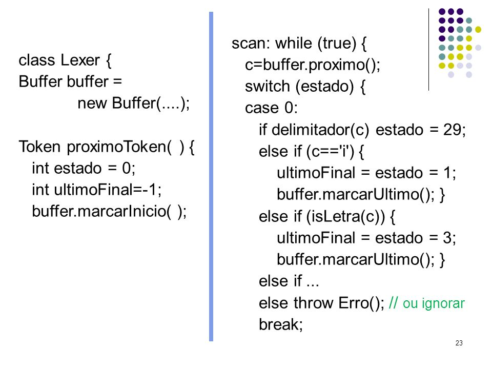 23 class Lexer { Buffer buffer = new Buffer(....); Token proximoToken( ) { int estado = 0; int ultimoFinal=-1; buffer.marcarInicio( ); scan: while (true) { c=buffer.proximo(); switch (estado) { case 0: if delimitador(c) estado = 29; else if (c== i ) { ultimoFinal = estado = 1; buffer.marcarUltimo(); } else if (isLetra(c)) { ultimoFinal = estado = 3; buffer.marcarUltimo(); } else if...