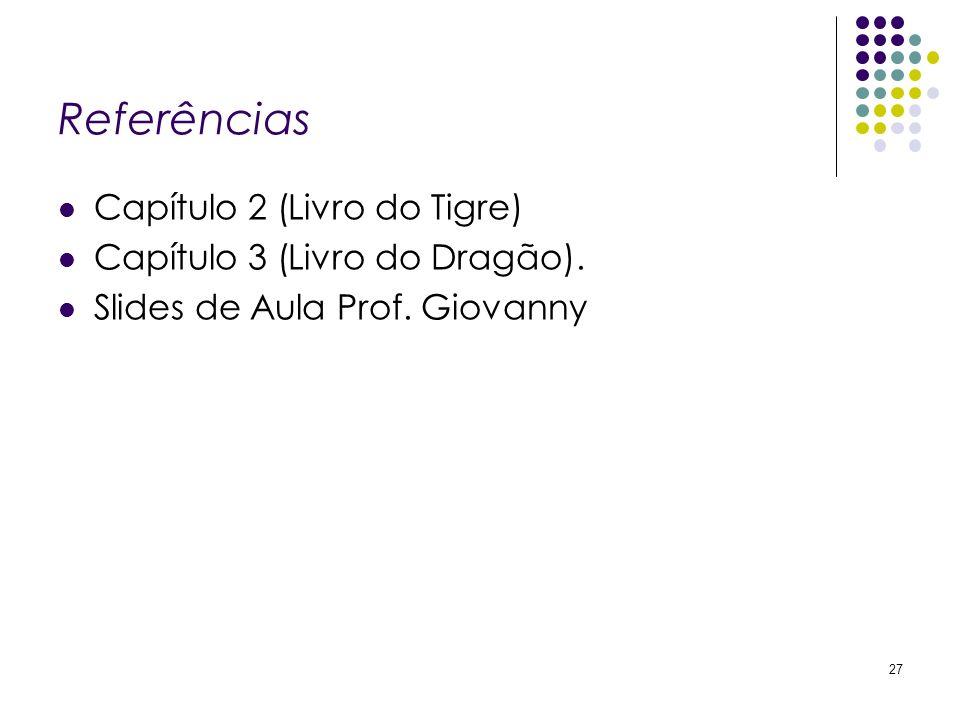 Referências Capítulo 2 (Livro do Tigre) Capítulo 3 (Livro do Dragão). Slides de Aula Prof. Giovanny 27