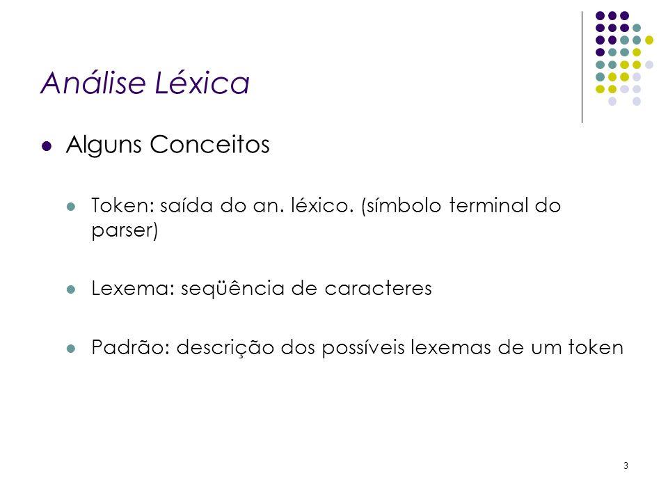 Análise Léxica Alguns Conceitos Token: saída do an. léxico. (símbolo terminal do parser) Lexema: seqüência de caracteres Padrão: descrição dos possíve