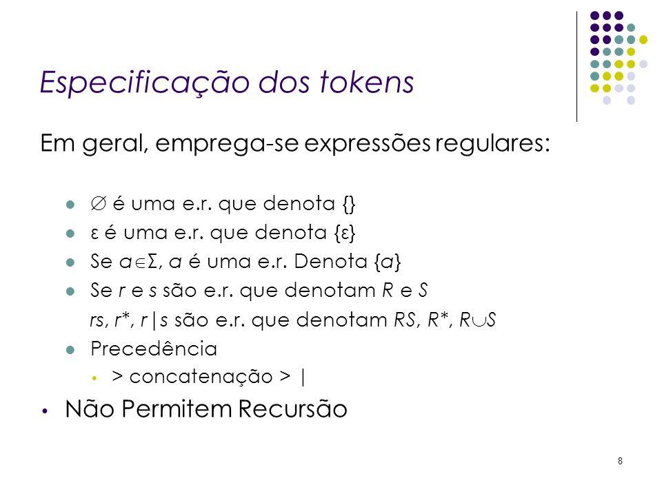 Especificação dos tokens Em geral, emprega-se expressões regulares: é uma e.r. que denota {} ε é uma e.r. que denota {ε} Se a Σ, a é uma e.r. Denota {