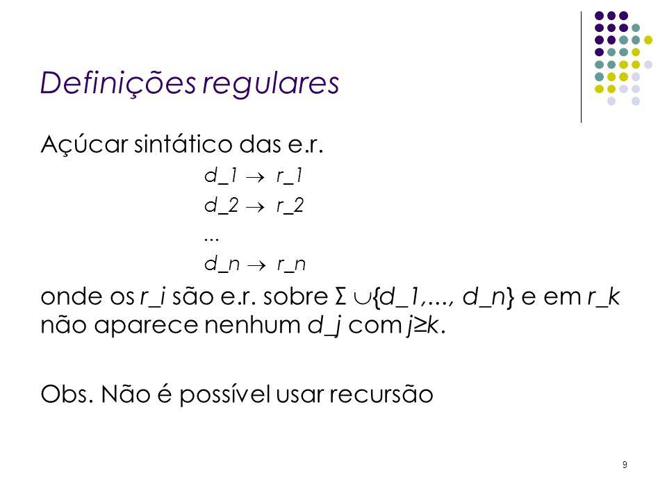 Definições regulares Açúcar sintático das e.r. d_1 r_1 d_2 r_2... d_n r_n onde os r_i são e.r. sobre Σ {d_1,..., d_n} e em r_k não aparece nenhum d_j