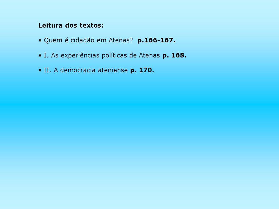 Leitura dos textos: Quem é cidadão em Atenas? p.166-167. I. As experiências políticas de Atenas p. 168. II. A democracia ateniense p. 170.