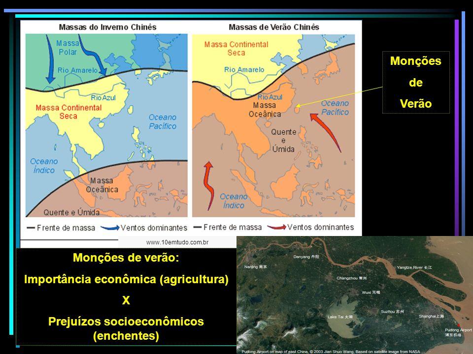 Monções de Verão www.10emtudo.com.br Monções de verão: Importância econômica (agricultura) X Prejuízos socioeconômicos (enchentes)
