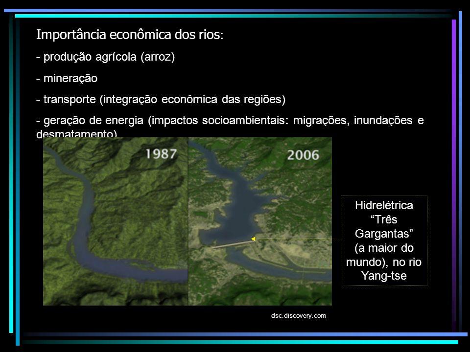 Importância econômica dos rios : - produção agrícola (arroz) - mineração - transporte (integração econômica das regiões) - geração de energia (impacto