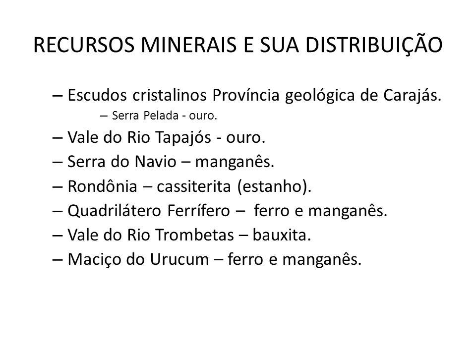 RECURSOS MINERAIS E SUA DISTRIBUIÇÃO – Escudos cristalinos Província geológica de Carajás. – Serra Pelada - ouro. – Vale do Rio Tapajós - ouro. – Serr