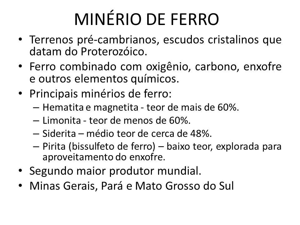 MINÉRIO DE FERRO Terrenos pré-cambrianos, escudos cristalinos que datam do Proterozóico. Ferro combinado com oxigênio, carbono, enxofre e outros eleme