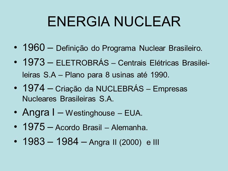 ENERGIA NUCLEAR 1960 – Definição do Programa Nuclear Brasileiro. 1973 – ELETROBRÁS – Centrais Elétricas Brasilei- leiras S.A – Plano para 8 usinas até