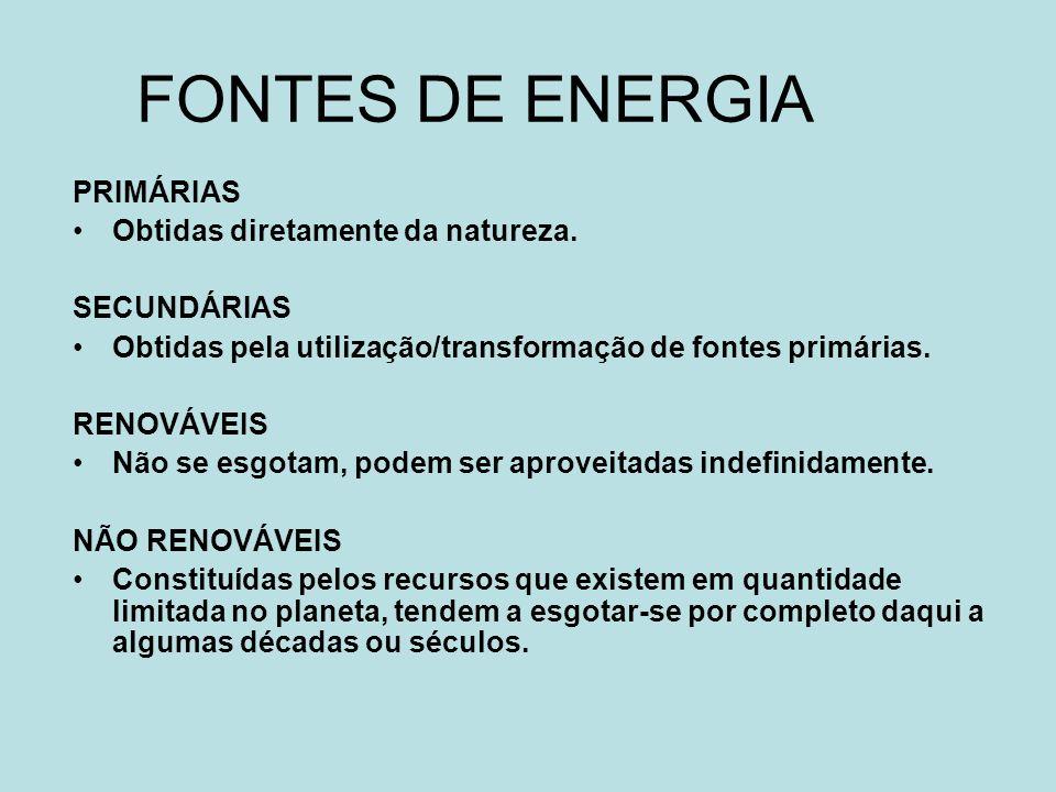 FONTES DE ENERGIA PRIMÁRIAS Obtidas diretamente da natureza. SECUNDÁRIAS Obtidas pela utilização/transformação de fontes primárias. RENOVÁVEIS Não se