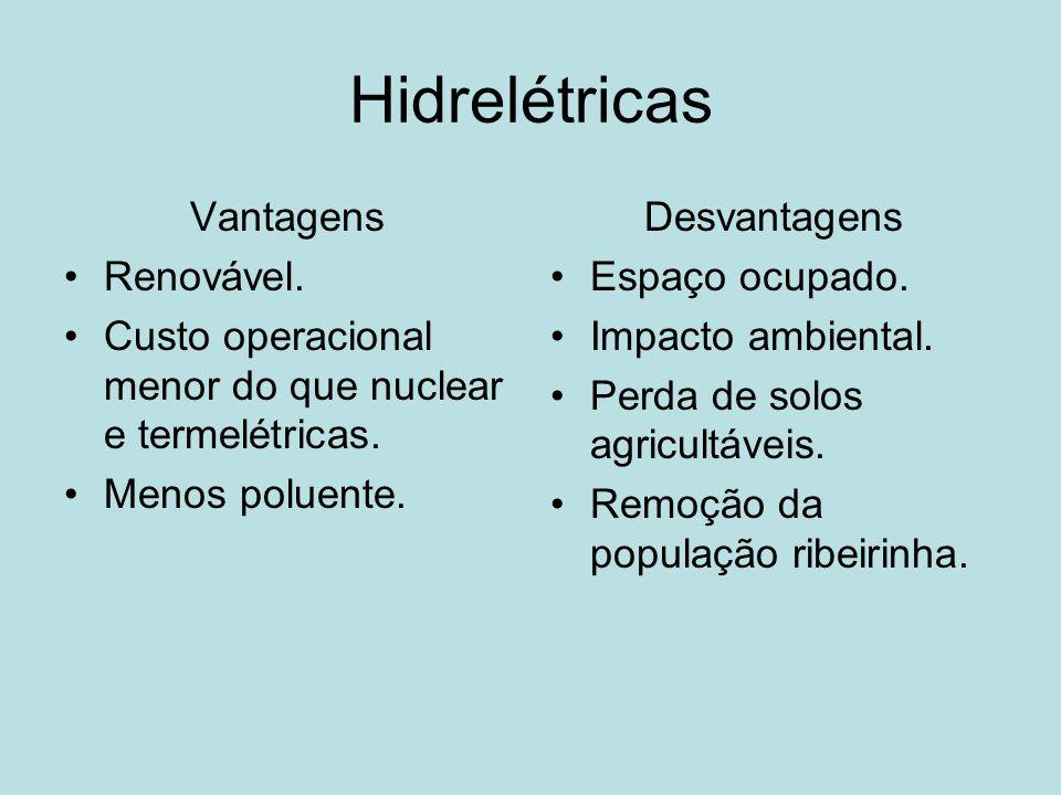 Hidrelétricas Vantagens Renovável. Custo operacional menor do que nuclear e termelétricas. Menos poluente. Desvantagens Espaço ocupado. Impacto ambien