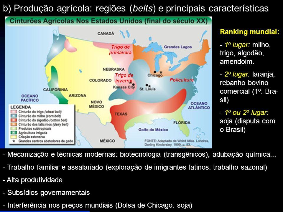 b) Produção agrícola: regiões (belts) e principais características Trigo de primavera Trigo de inverno Policultura - Mecanização e técnicas modernas: biotecnologia (transgênicos), adubação química...