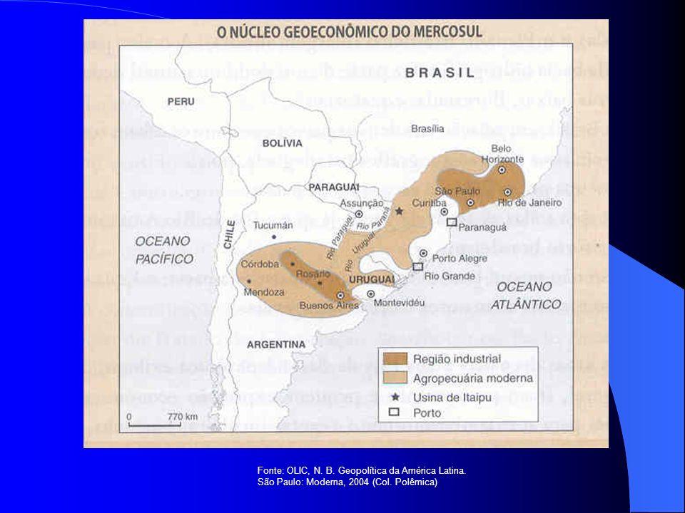 Fonte: OLIC, N. B. Geopolítica da América Latina. São Paulo: Moderna, 2004 (Col. Polêmica)