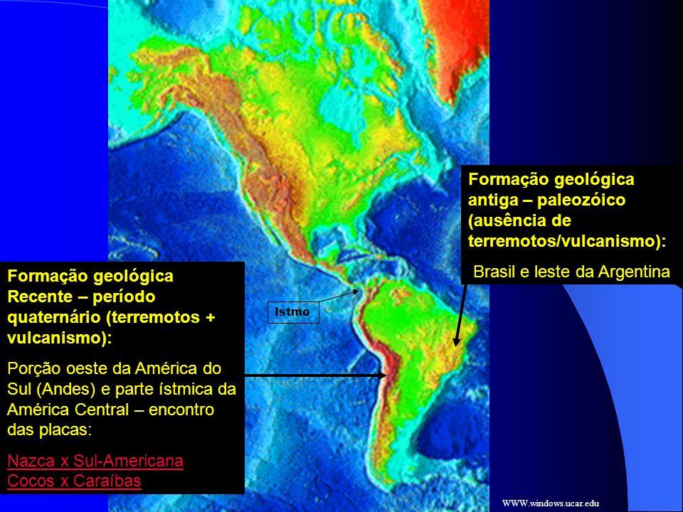 WWW.windows.ucar.edu Formação geológica antiga – paleozóico (ausência de terremotos/vulcanismo): Brasil e leste da Argentina Formação geológica Recent