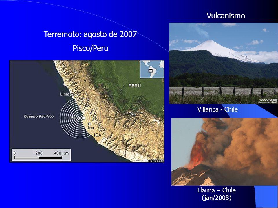 Terremoto: agosto de 2007 Pisco/Peru Vulcanismo Villarica - Chile Llaima – Chile (jan/2008)