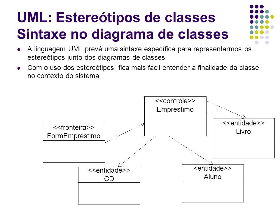 UML: Estereótipos de classes Sintaxe no diagrama de classes A linguagem UML prevê uma sintaxe específica para representarmos os estereótipos junto dos