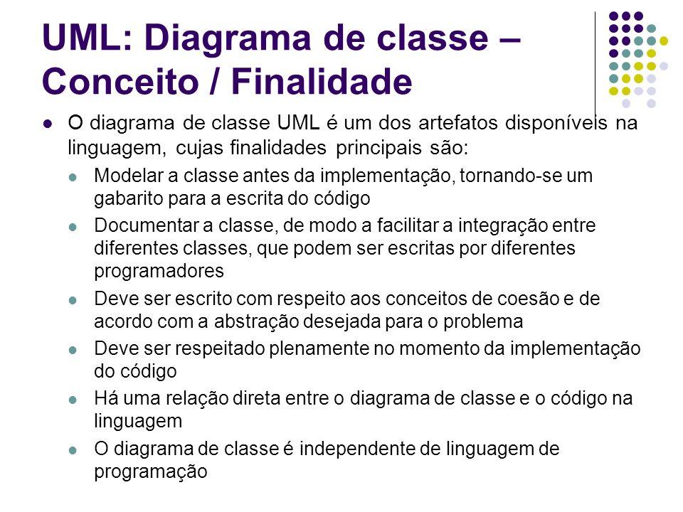 UML: Diagrama de classe - Sintaxe A sintaxe completa prevê seções para o nome da classe, para seus atributos e para seus métodos Uma sintaxe simplificada pode apresentar apenas o nome da classe, com a intenção de dar apenas a visão global do sistema (o IDE BlueJ adota essa sintaxe simplificada) Classe atributos métodos
