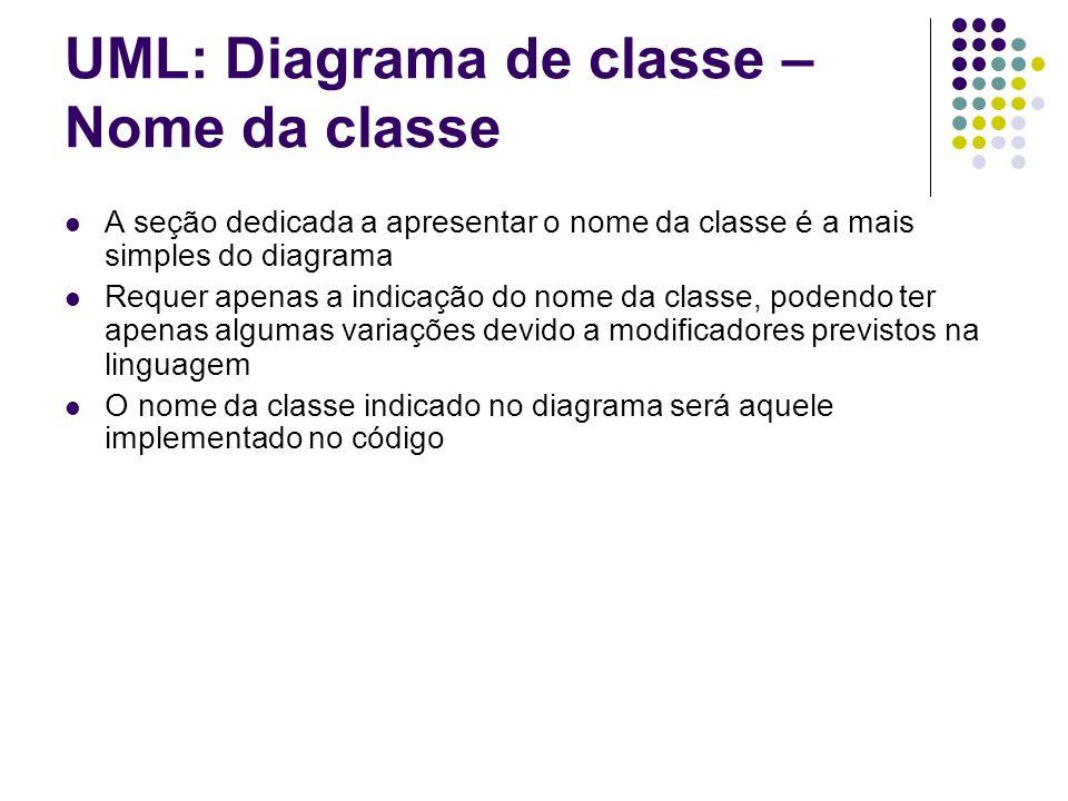 UML: Diagrama de classe – Atributos A seção de atributos do diagrama de classe UML segue a sintaxe nome atributo A visibilidade pode ser: Exemplo: - salario:double Pode-se adotar uma forma simplificada, apresentando apenas o nome do atributo.