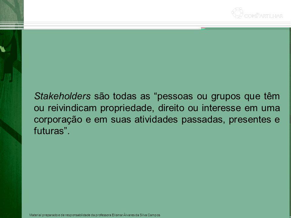 Material preparado e de responsabilidade da professora Elismar Álvares da Silva Campos Stakeholders são todas as pessoas ou grupos que têm ou reivindi