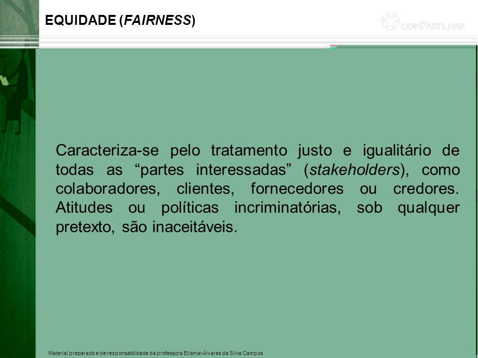 Material preparado e de responsabilidade da professora Elismar Álvares da Silva Campos Caracteriza-se pelo tratamento justo e igualitário de todas as