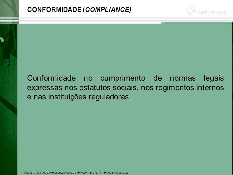 Material preparado e de responsabilidade da professora Elismar Álvares da Silva Campos CONFORMIDADE (COMPLIANCE) Conformidade no cumprimento de normas