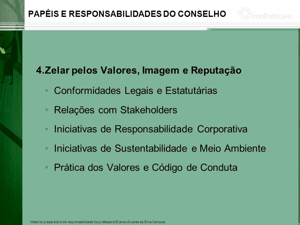 Material preparado e de responsabilidade da professora Elismar Álvares da Silva Campos PAPÉIS E RESPONSABILIDADES DO CONSELHO 4.Zelar pelos Valores, I