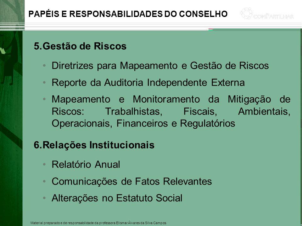 Material preparado e de responsabilidade da professora Elismar Álvares da Silva Campos PAPÉIS E RESPONSABILIDADES DO CONSELHO 5.Gestão de Riscos Diret