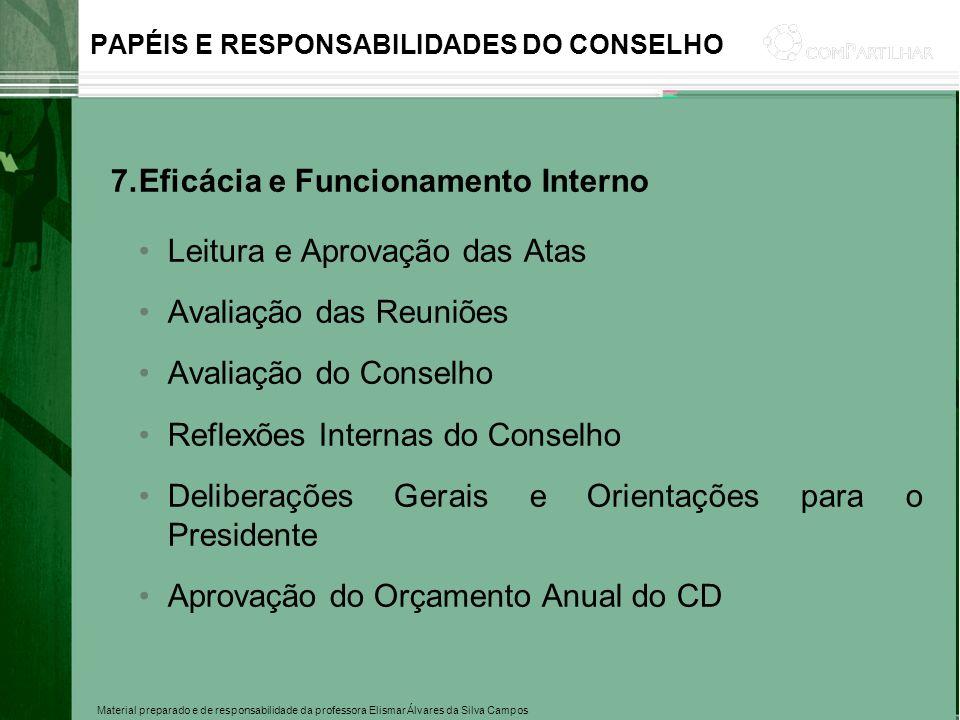 Material preparado e de responsabilidade da professora Elismar Álvares da Silva Campos PAPÉIS E RESPONSABILIDADES DO CONSELHO 7.Eficácia e Funcionamen