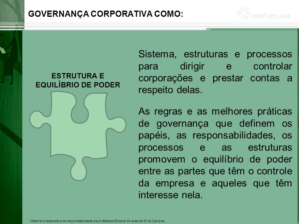 Material preparado e de responsabilidade da professora Elismar Álvares da Silva Campos Sistema, estruturas e processos para dirigir e controlar corpor