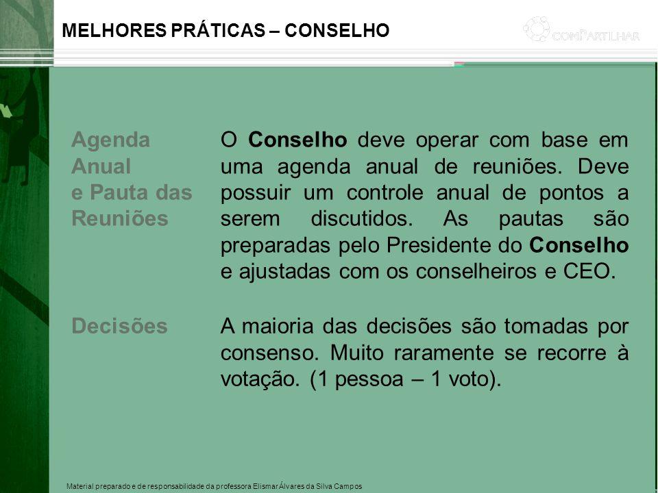 Material preparado e de responsabilidade da professora Elismar Álvares da Silva Campos MELHORES PRÁTICAS – CONSELHO Agenda Anual e Pauta das Reuniões