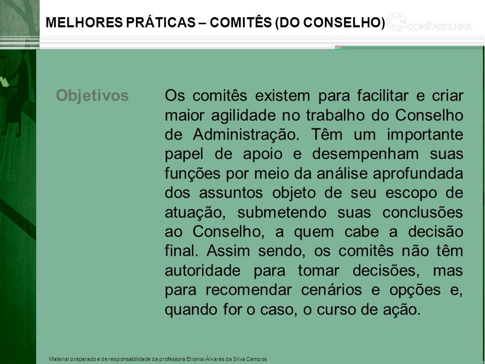 Material preparado e de responsabilidade da professora Elismar Álvares da Silva Campos MELHORES PRÁTICAS – COMITÊS (DO CONSELHO) ObjetivosOs comitês e