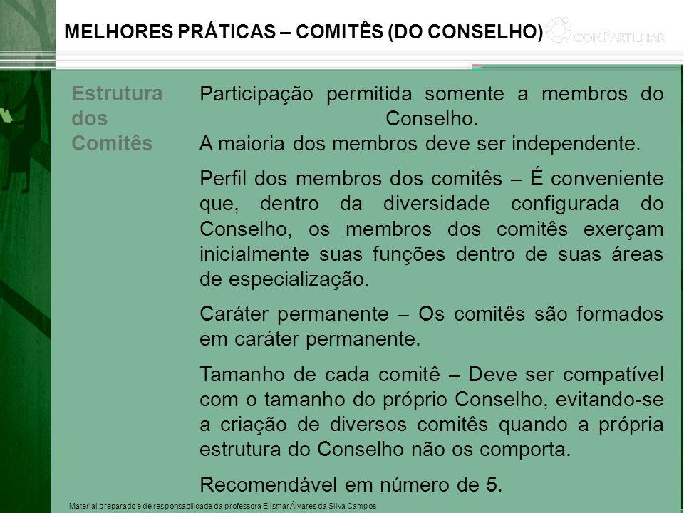 Material preparado e de responsabilidade da professora Elismar Álvares da Silva Campos MELHORES PRÁTICAS – COMITÊS (DO CONSELHO) Estrutura dos Comitês