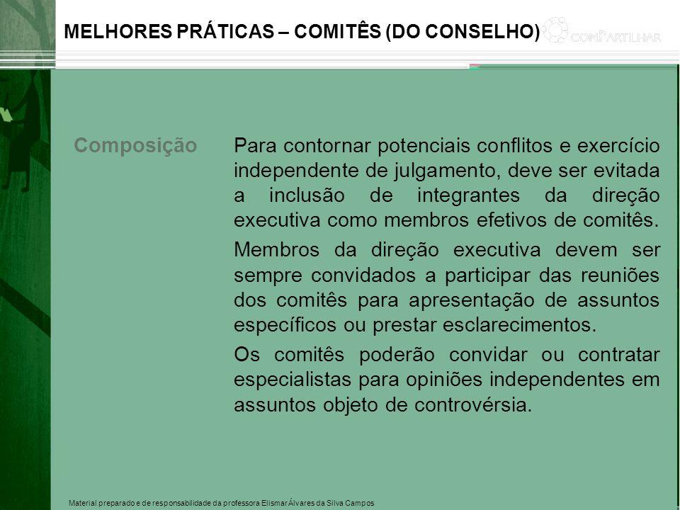 Material preparado e de responsabilidade da professora Elismar Álvares da Silva Campos MELHORES PRÁTICAS – COMITÊS (DO CONSELHO) ComposiçãoPara contor