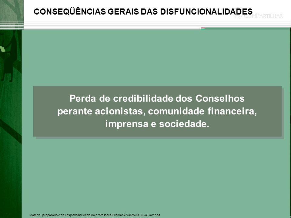 Material preparado e de responsabilidade da professora Elismar Álvares da Silva Campos CONSEQÜÊNCIAS GERAIS DAS DISFUNCIONALIDADES Perda de credibilid
