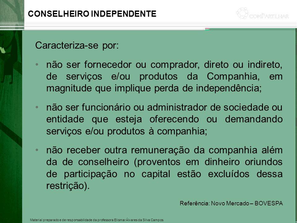 Material preparado e de responsabilidade da professora Elismar Álvares da Silva Campos CONSELHEIRO INDEPENDENTE Caracteriza-se por: não ser fornecedor