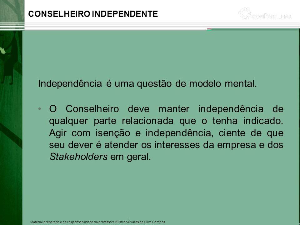 Material preparado e de responsabilidade da professora Elismar Álvares da Silva Campos Independência é uma questão de modelo mental. O Conselheiro dev