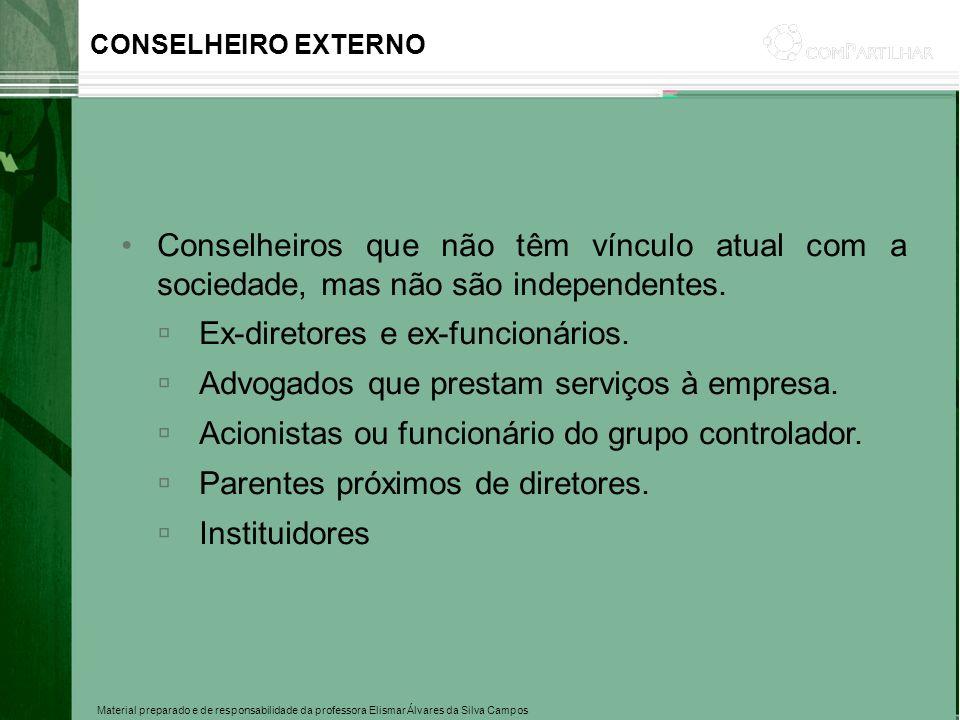 Material preparado e de responsabilidade da professora Elismar Álvares da Silva Campos CONSELHEIRO EXTERNO Conselheiros que não têm vínculo atual com