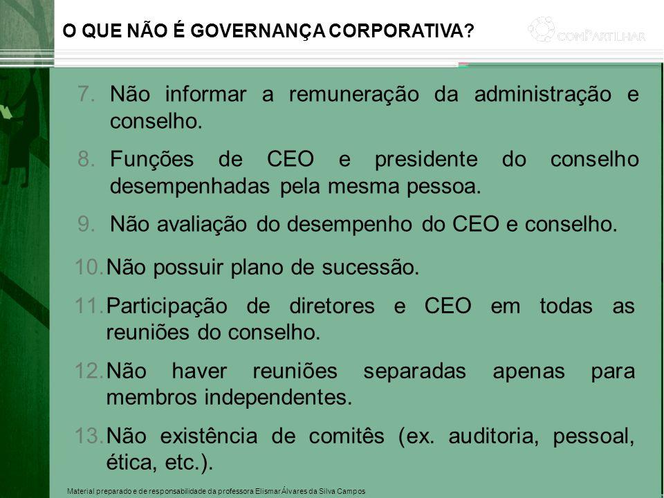 Material preparado e de responsabilidade da professora Elismar Álvares da Silva Campos O QUE NÃO É GOVERNANÇA CORPORATIVA? 7.Não informar a remuneraçã