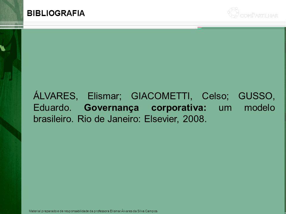 Material preparado e de responsabilidade da professora Elismar Álvares da Silva Campos BIBLIOGRAFIA ÁLVARES, Elismar; GIACOMETTI, Celso; GUSSO, Eduard