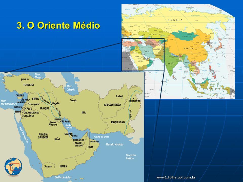 a) Características gerais: - - Formado por 17 países e parte do Egito (Sinai) - - Berço das três religiões monoteístas: judaísmo, cristianismo e islamismo (muçulmanos)